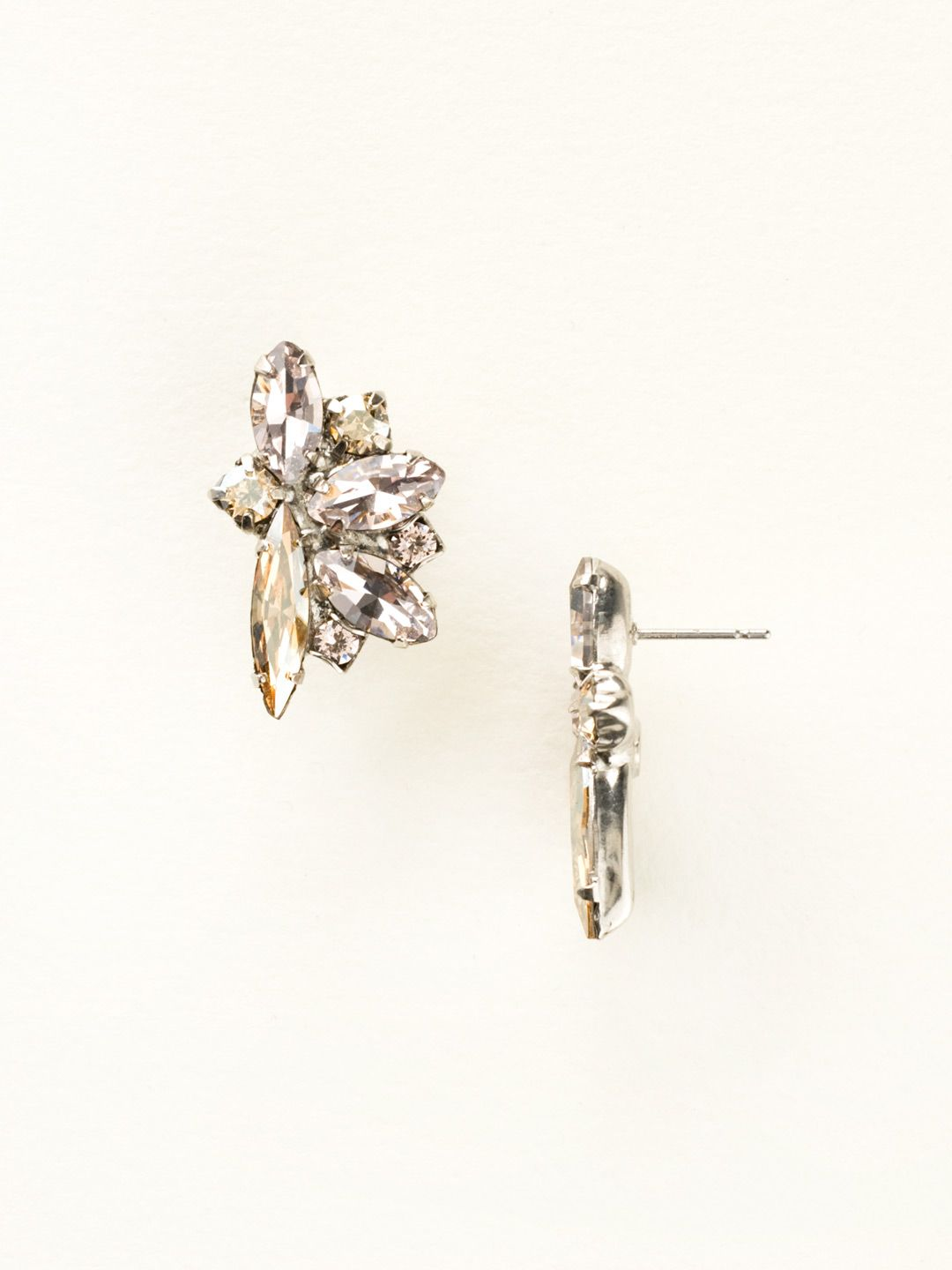 Fanned Navette Crystal Post Earring In Satin Blush Sorrelli