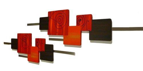 2 Red Orange Brown Swirl Autumn Decor Wood With Metal Wall