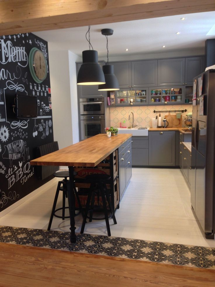 Nouvelle Cuisine Ikea Bodbyn Gris Metod Tendance Scandinave - Carreau de ciment mural cuisine pour idees de deco de cuisine