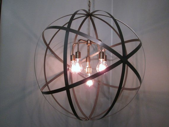 Breakfast Nook Idea Industrial Globe Light Strap Metal Sphere By