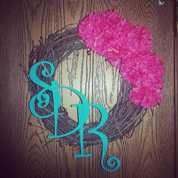 Mini Summer wreath- flowers and wreath from Wal-Mart,  letters from hobby lobby hot glued on.
