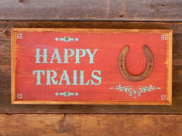 Barn Signs Decor Happy Trails Sign Western Home Decor Country Signs Horse Decor