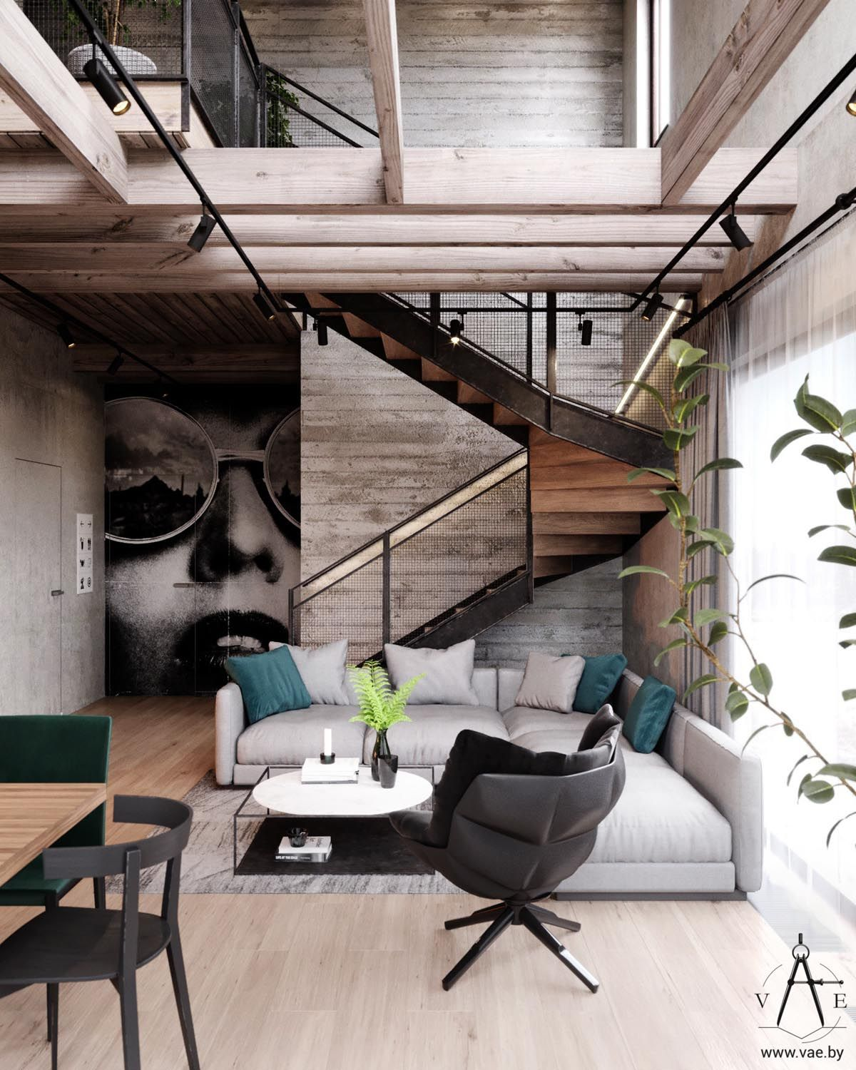 Warm Industrial Style House (With Layout) | Living Room Designs ...