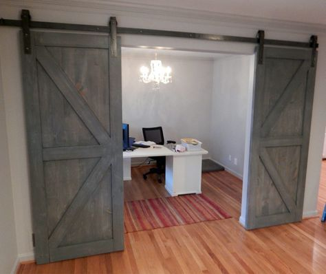 Interior Sliding Barn Doors Gray Stain Wooden Double Sliding Barn
