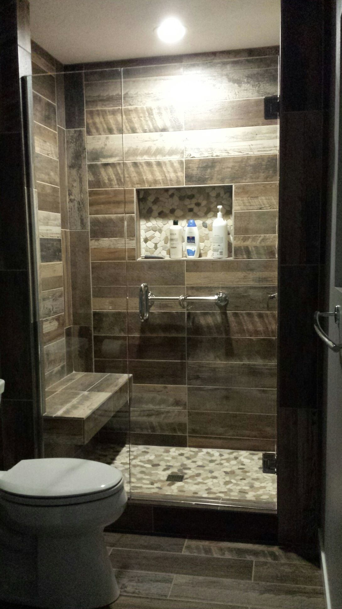 Kennewick wa bathroom remodel custom walk in shower with wood plank look tile walls and natural Bathroom tiles ideas nz