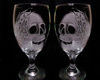Hand Painted Berry Wine/Goblet Glasses