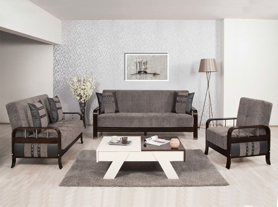 Studio NYC Sofa Set in Floked Gray by Casamode