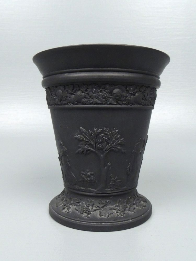 Vintage Estate Wedgwood Black Basalt Vase Flower Frog Jasperware