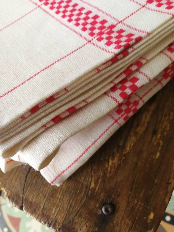 French Vintage Metis Tea Towels, Red And White Check, Tea ...