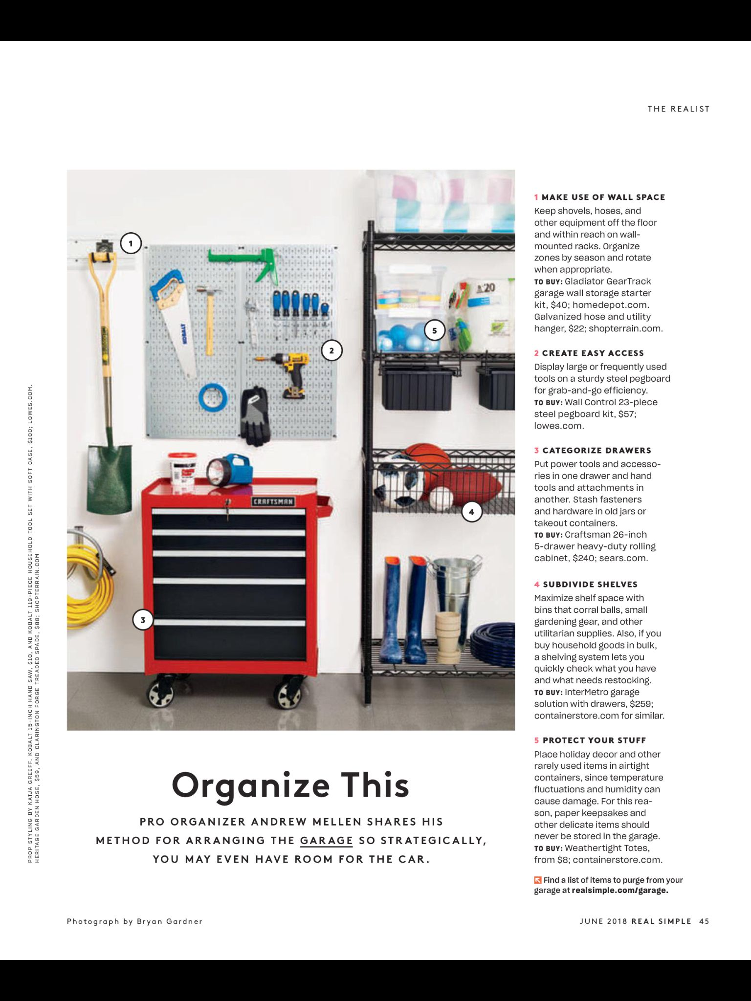 organize this from real simple june 2018 read it on on attractive garage storages ideas to organize your garage get these few tips id=51134