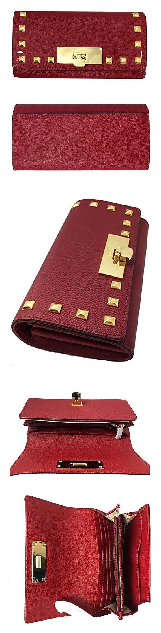 8fb6778287afdb $139.99 - Michael Kors Callie Stud Saffiano Leather Carryall Wallet Cherry # michaelkors