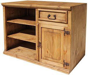 Simoni Tv Stand Rustic Pine Furniture Wood Entertainment Center