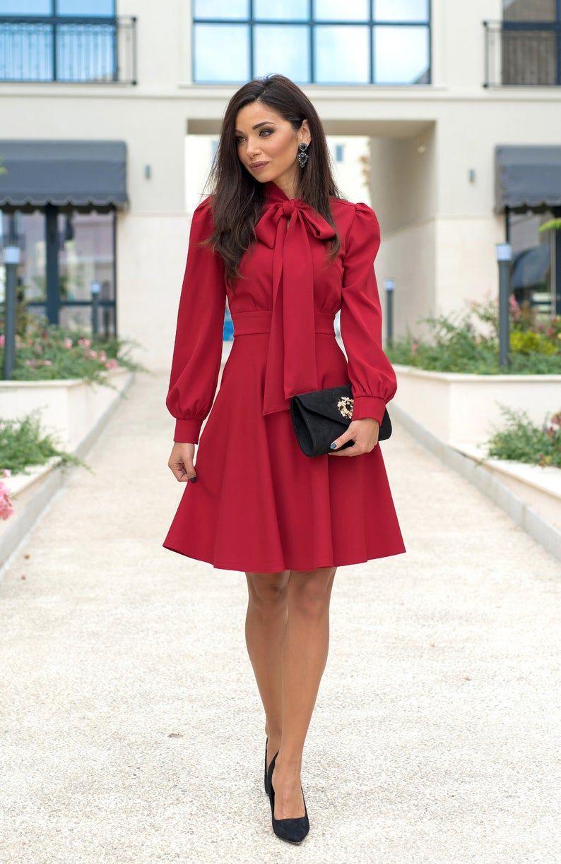 Bow neckline knee length dress long sleeve dress red