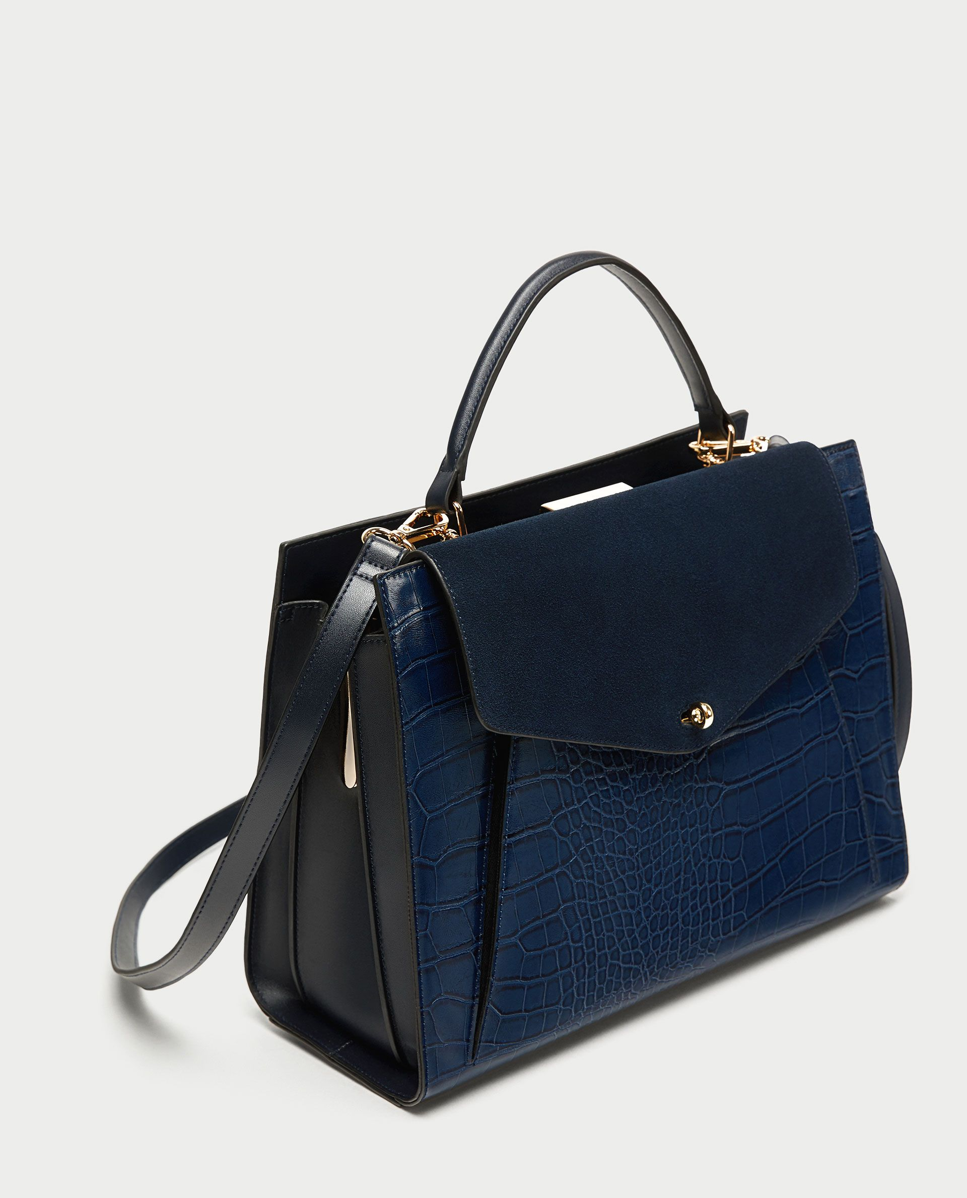 a13f8ad1ba Image 1 of EMBOSSED CITY BAG WITH CONTRASTING LEATHER FLAP from Zara ...