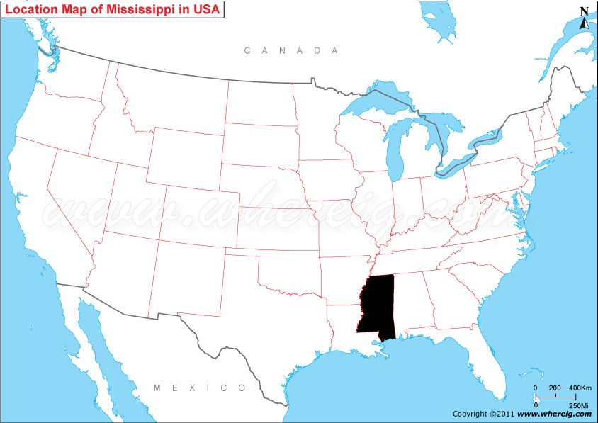 Where Is Mississippi United States US Pinterest - Mississippi on us map