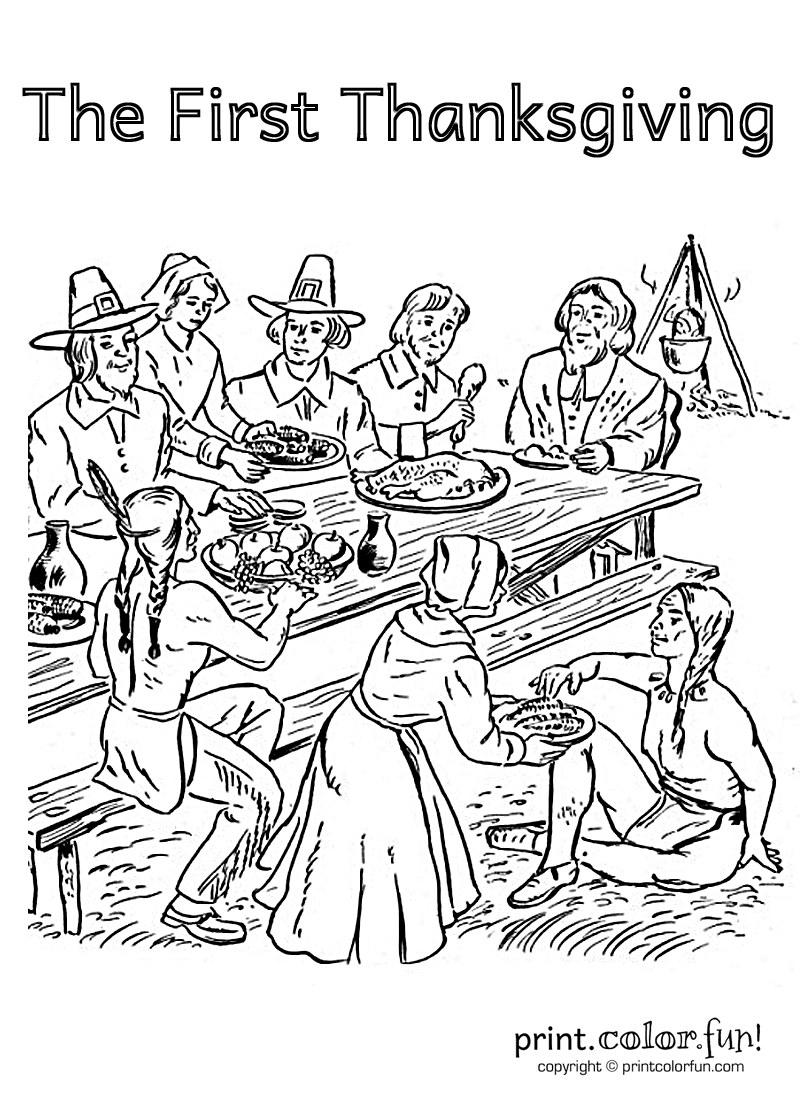 First Thanksgiving Feast Coloring Pages | November | Pinterest ...