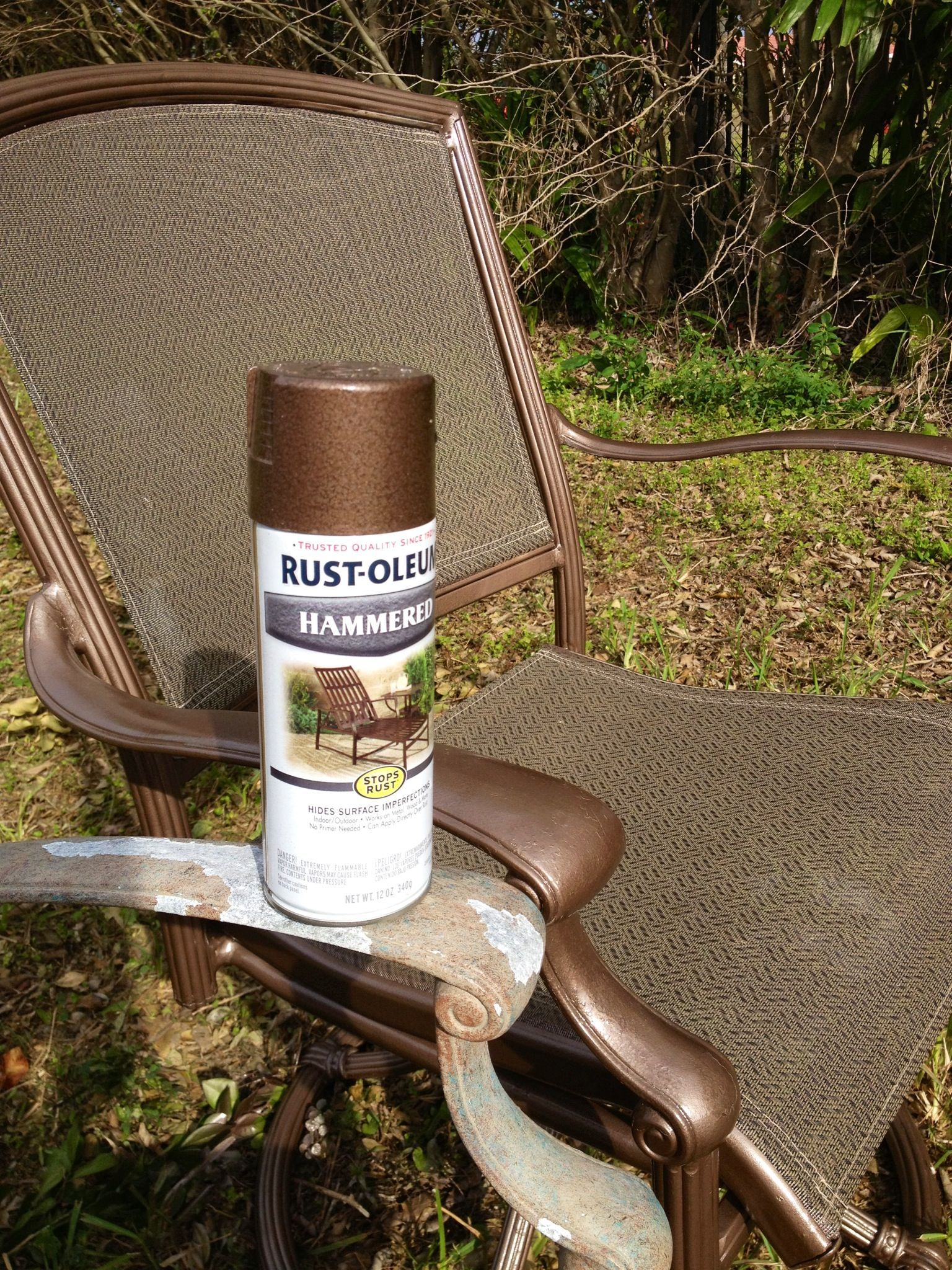 Rustoleum Hammered Metallic Spray Paint For My Upcycled Patio Set Love It Patio Furniture Makeover Painting Patio Furniture Metal Outdoor Furniture