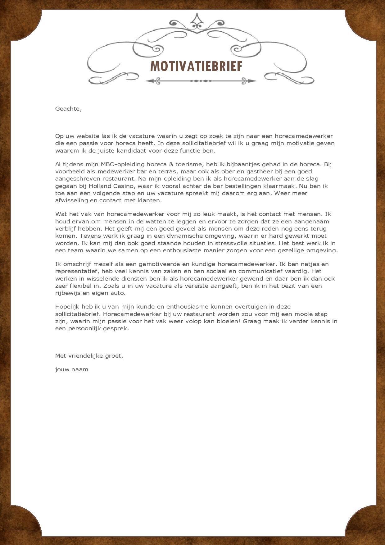horeca motivatiebrief Val op met dit unieke horeca cv inclusief motivatiebrief | Moderne