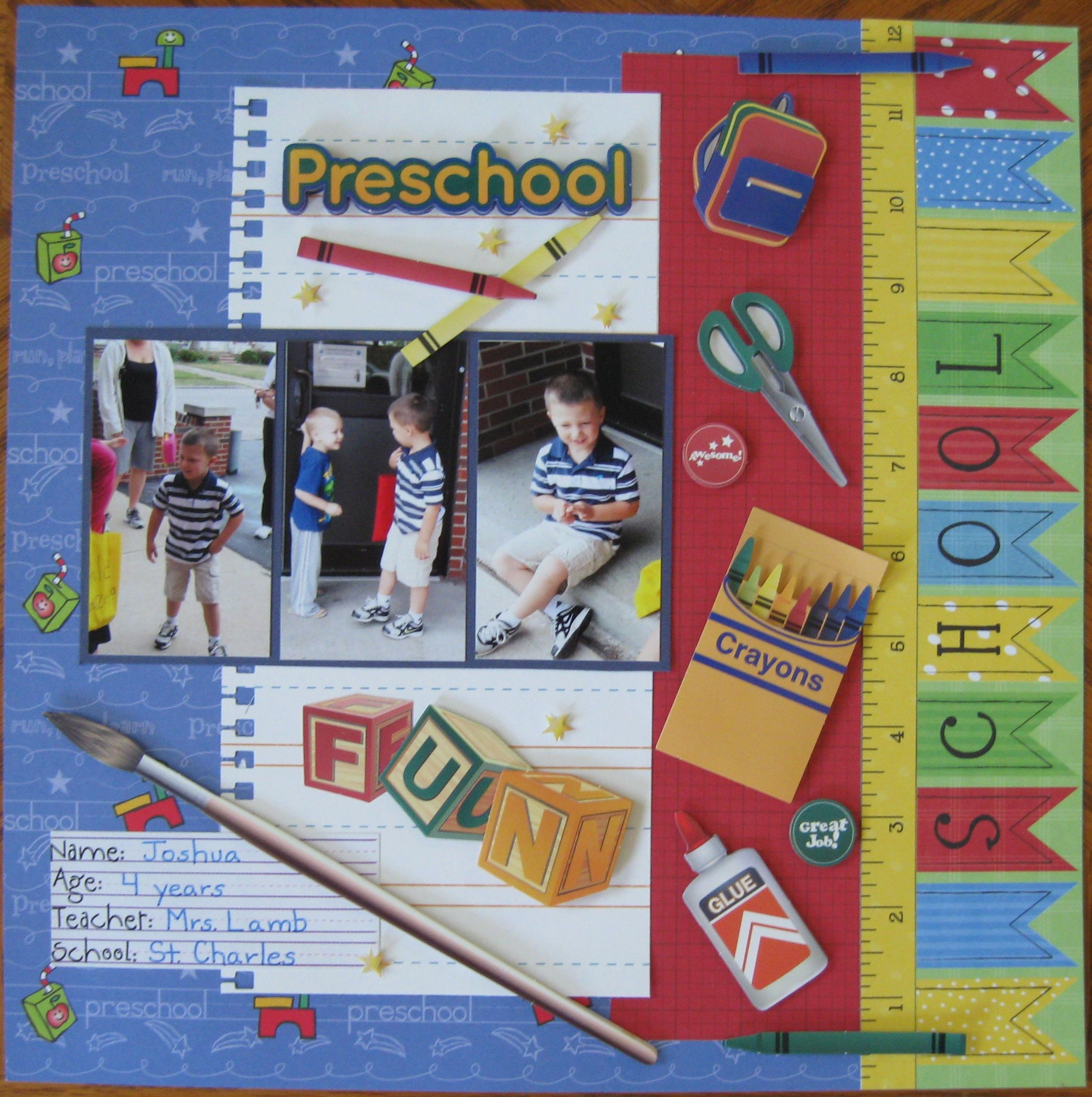Ideas for First Day of Preschool Scrapbook Layout