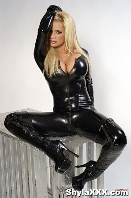 Latex Catsuit Gloves And Pvc Thigh Boots