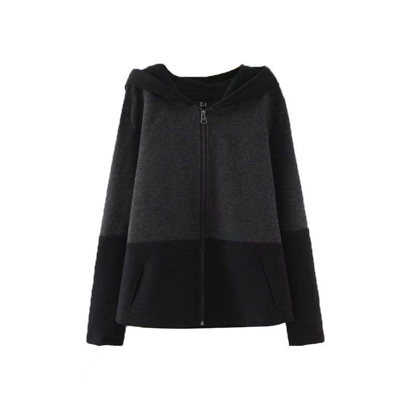 Micomico Fashion Women Jacket Coat 2017 Autumn Winter Hooded Zipper Plush Patchwork Black Coat Outwear Female Casual Loose Coat #Affiliate