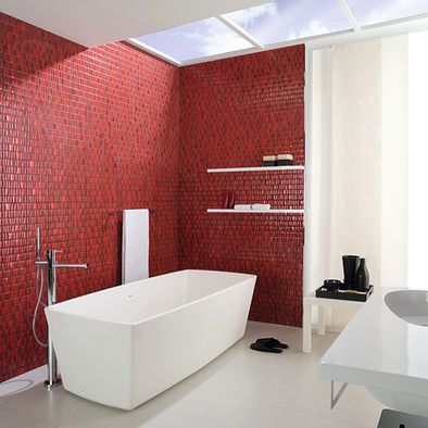 Love the tile punch wall | Bathroom red, Bathroom color ...