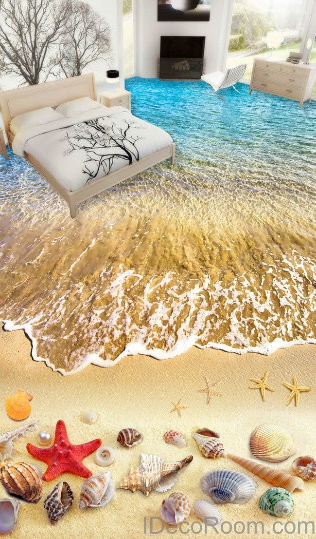 Beach wave red starfish colerful shell 00006 floor decals 3d wallpaper wall mural stickers print art bathroom decor living room kitchen waterproof business