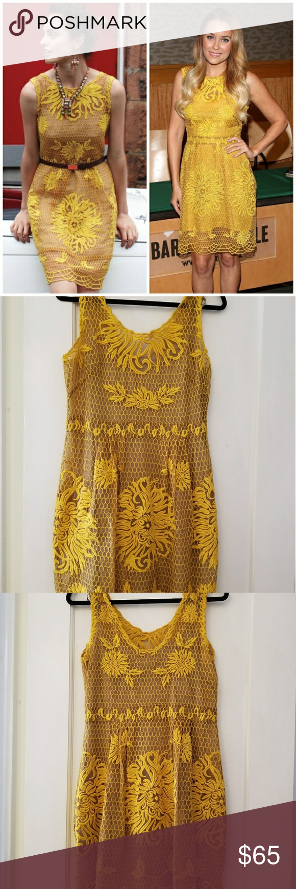 f616f0cfb55d Anthropologie Yoana Baraschi Honeycomb Lace Dress Anthropologie honeycomb/floral  lace dress in a golden yellow color. 100% silk with a viscose slip.