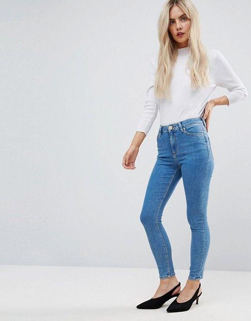 849c6caebc8b0 DESIGN Petite Ridley high waist skinny jeans in light wash | Wish list |  Skinny Jeans, Jeans, Skinny