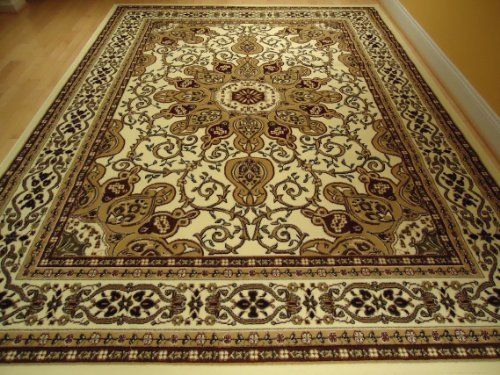 Large Ivory 8x11 Persian Style Rug Oriental Rug Cream Area Rug 8x10 Persian  Carpet Area Rugs