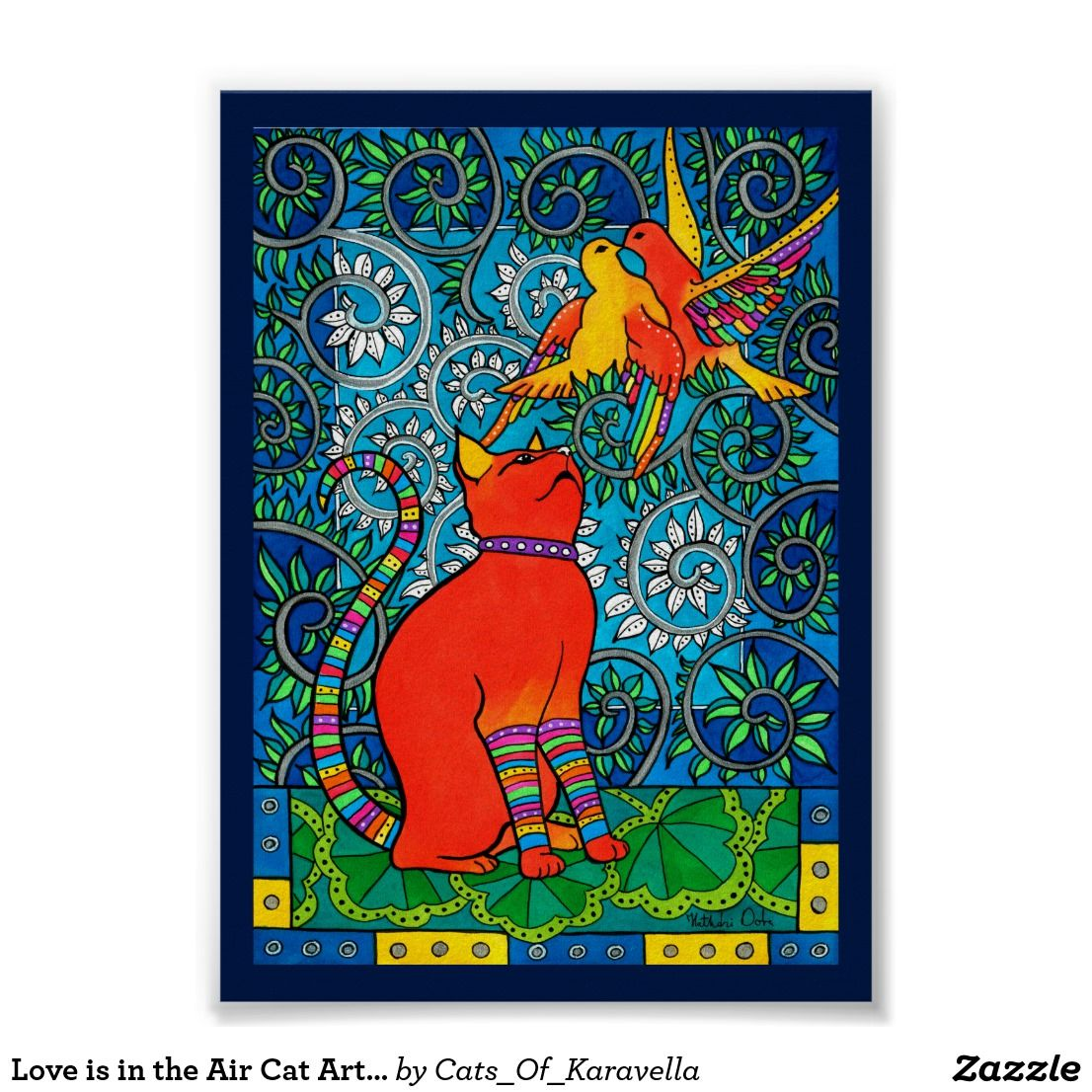 Love is in the Air Cat Art by Cats of Karavella Poster by Dora Hathazi Mendes