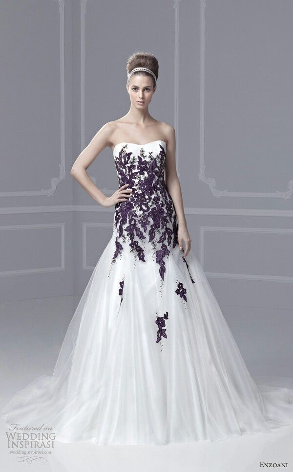 Blue By Enzoani Wedding Dresses 2013 Farley Strapless Gown Color Accent I  Would Do This One As Is Lisa Wants It Burgandy, Wth The Accents Being Light  Pink
