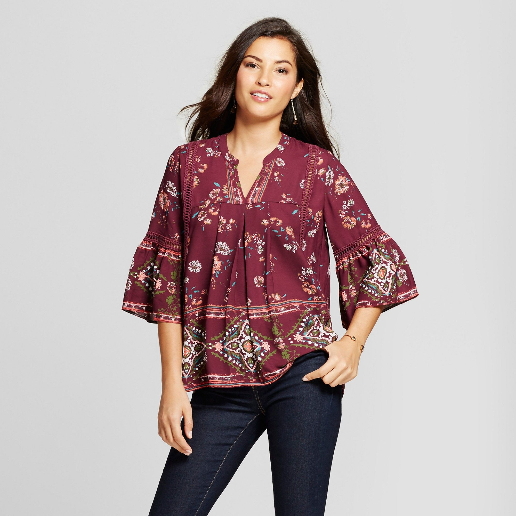 7a7a23dd9105b Women's Printed Bell Sleeve Top - Knox Rose Merlot Xxl, Purple ...