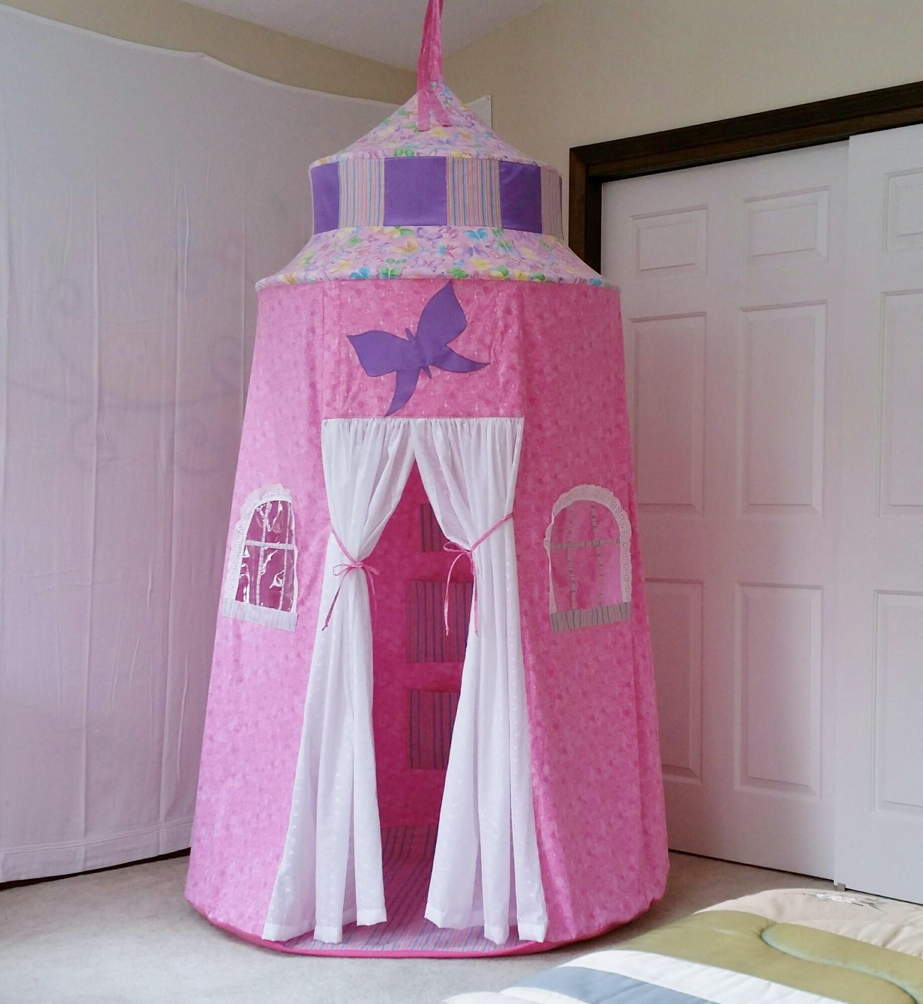 Princess Play Tent Pink Castle Tent Fabric Playhouse for Kids Pink princess castle & Princess Play Tent Pink Castle Tent Fabric Playhouse for Kids ...