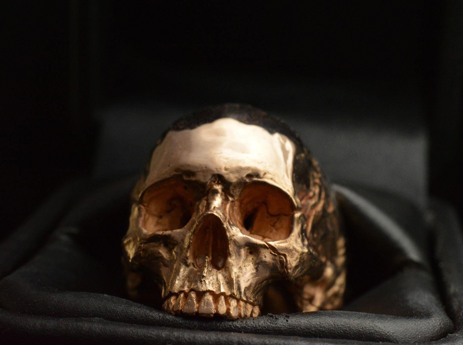 Skull Ring 18kt Rose or Yellow Gold Skull 50 grams Mens Biker Masonic Jewelry   eBay