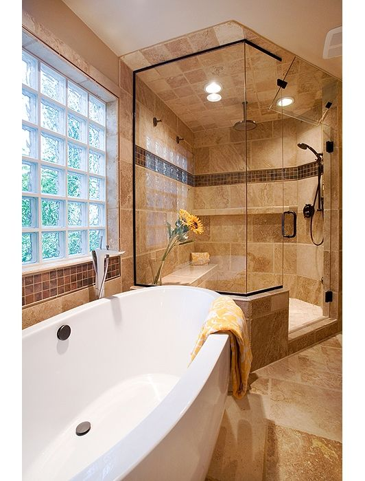 Amazing Master Bathroom With Gorgeous Tub And Glass Shower