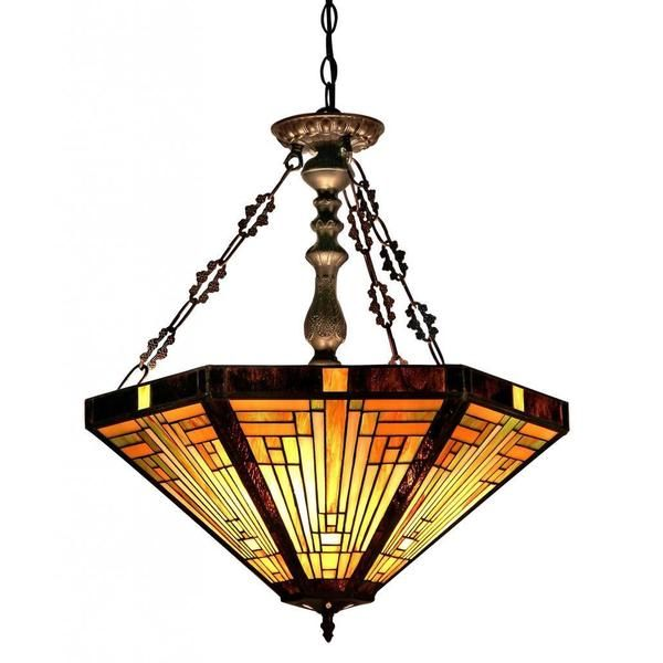 Chloe Lighting Innes Tiffany Style Mission Inverted Ceiling Pendant With Fixture Shade