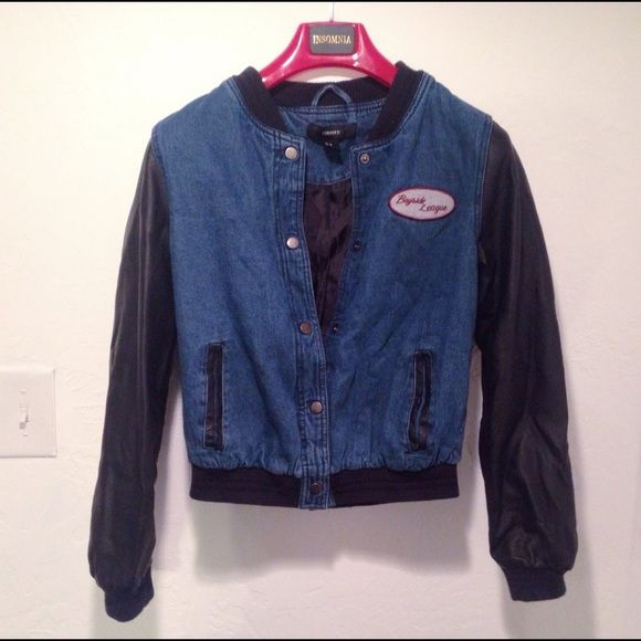Forever 21 Jean and leather jacket Vintage looking jacket with leather and denim. Warm and fits really well. Good for chilly and cold weather. Cute for the 90s grunge style Forever 21 Jackets & Coats Jean Jackets