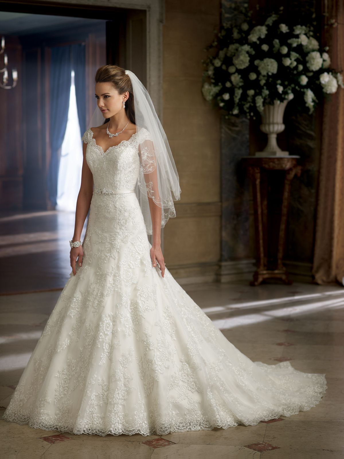 Allover Embroidered Lace Tulle And Organza A Line Wedding Dress