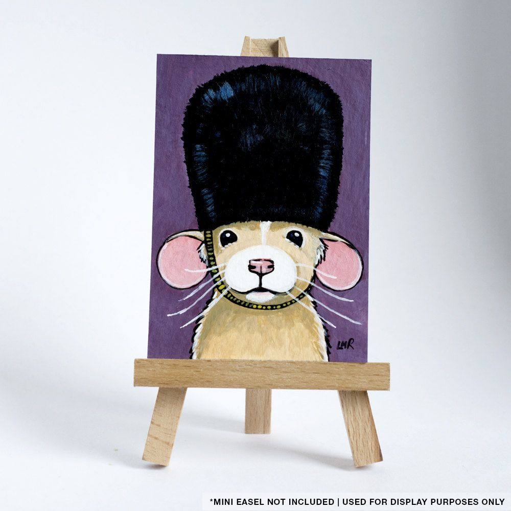 Original ACEO Dumbo Rat wearing a Bearskin Hat London