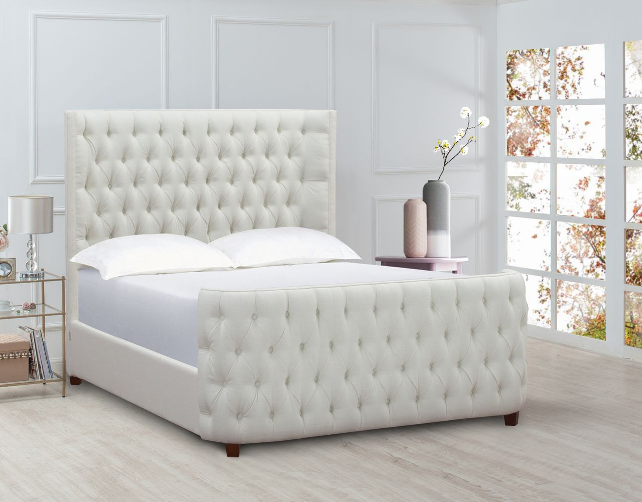 Brooklyn Tufted Bed Queen Antique White Tufted Bed Bed Furniture