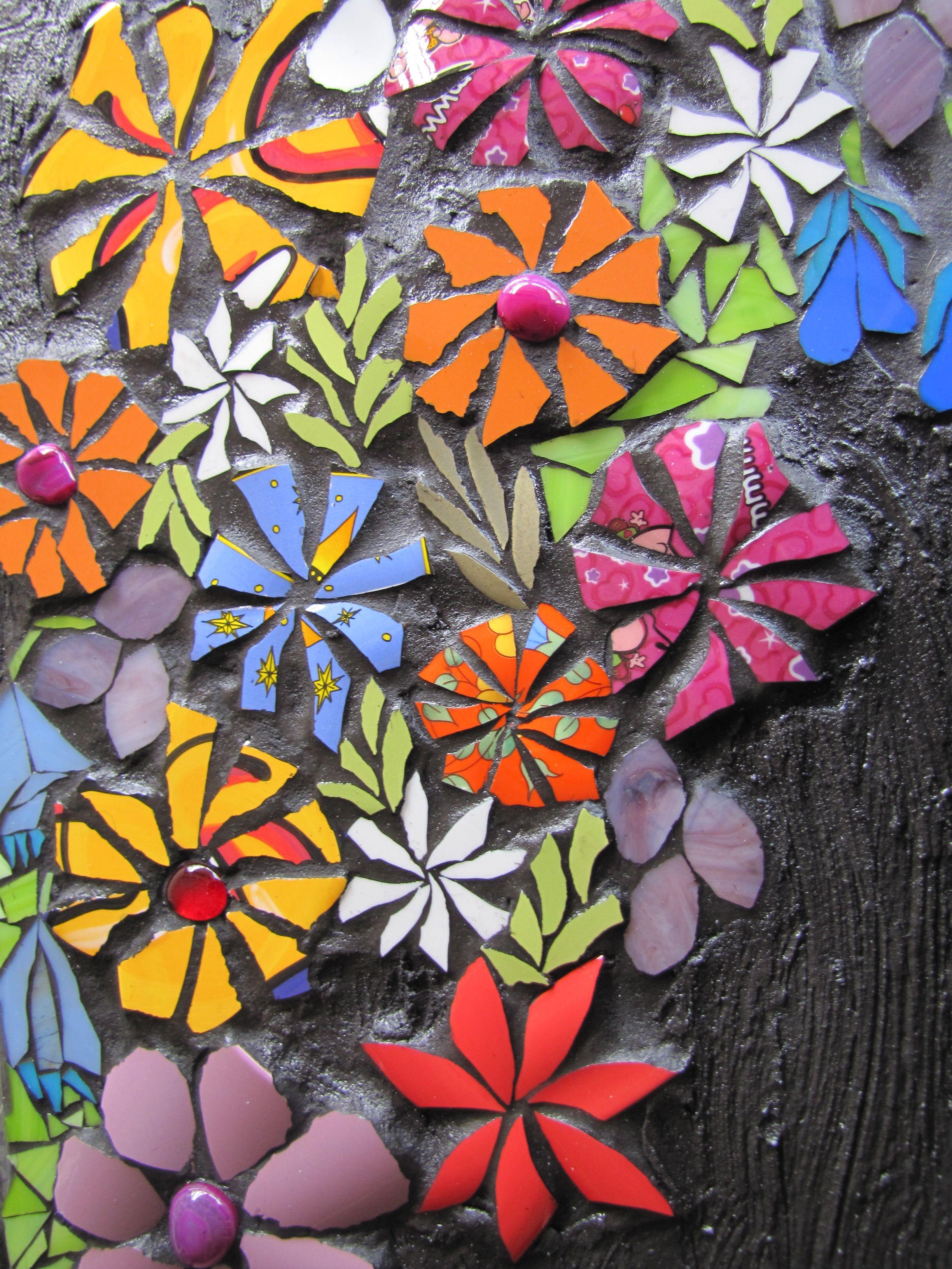 A flower mosaic by kat gottke mosaics pinterest for Mosaic landscape design