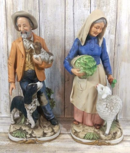 Vintage 11 5 Homco Figurines Old Couple Man Woman Country