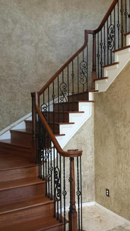 Custom Brazilian Cherry Staircase With Wrought Iron Railing System Brazilian Cherry Hardwood Flooring Cherry Hardwood Flooring Stair Remodel