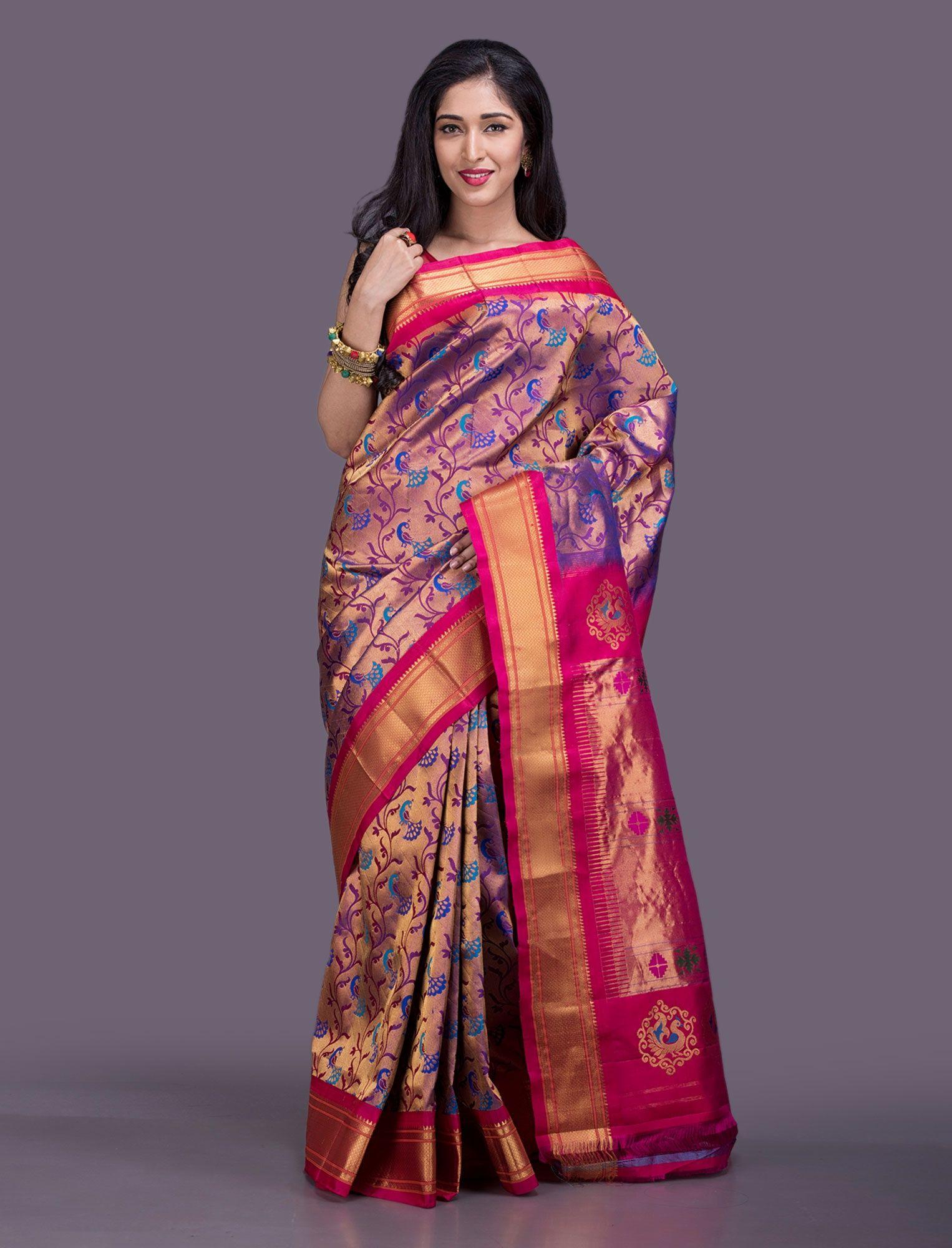 f9a1e17fa9 Sanika Paithani Silk Saree | paithani | Saree, Silk sarees, Handloom ...