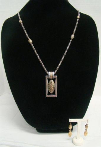 "Premier Designs Ladies Two Tone Pendant Necklace 34 37"" and Goldtone Earring Set | eBay"