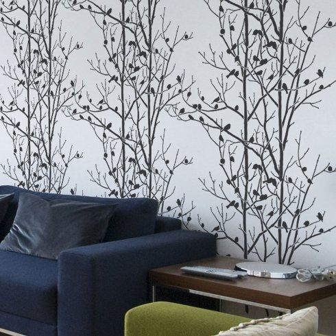 Birdstreeswallstencilpatterndesignjpg Stairs Pinterest - Giant wall stencil