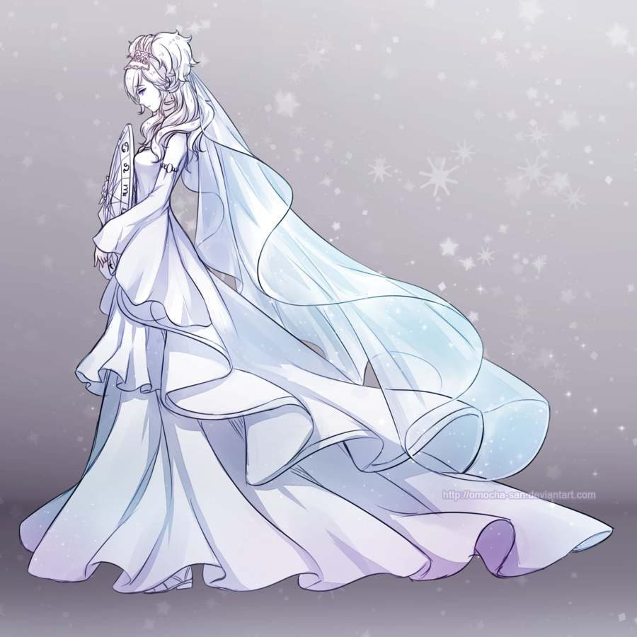 White dress drawing - Anime