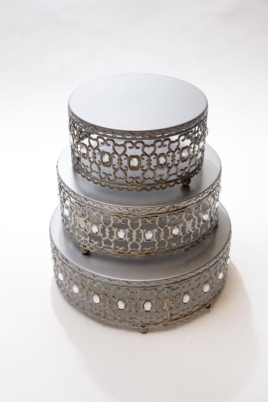 Amazon.com | Opulent Treasures Moroccan Cake Stands Set of 3 (Silver ...