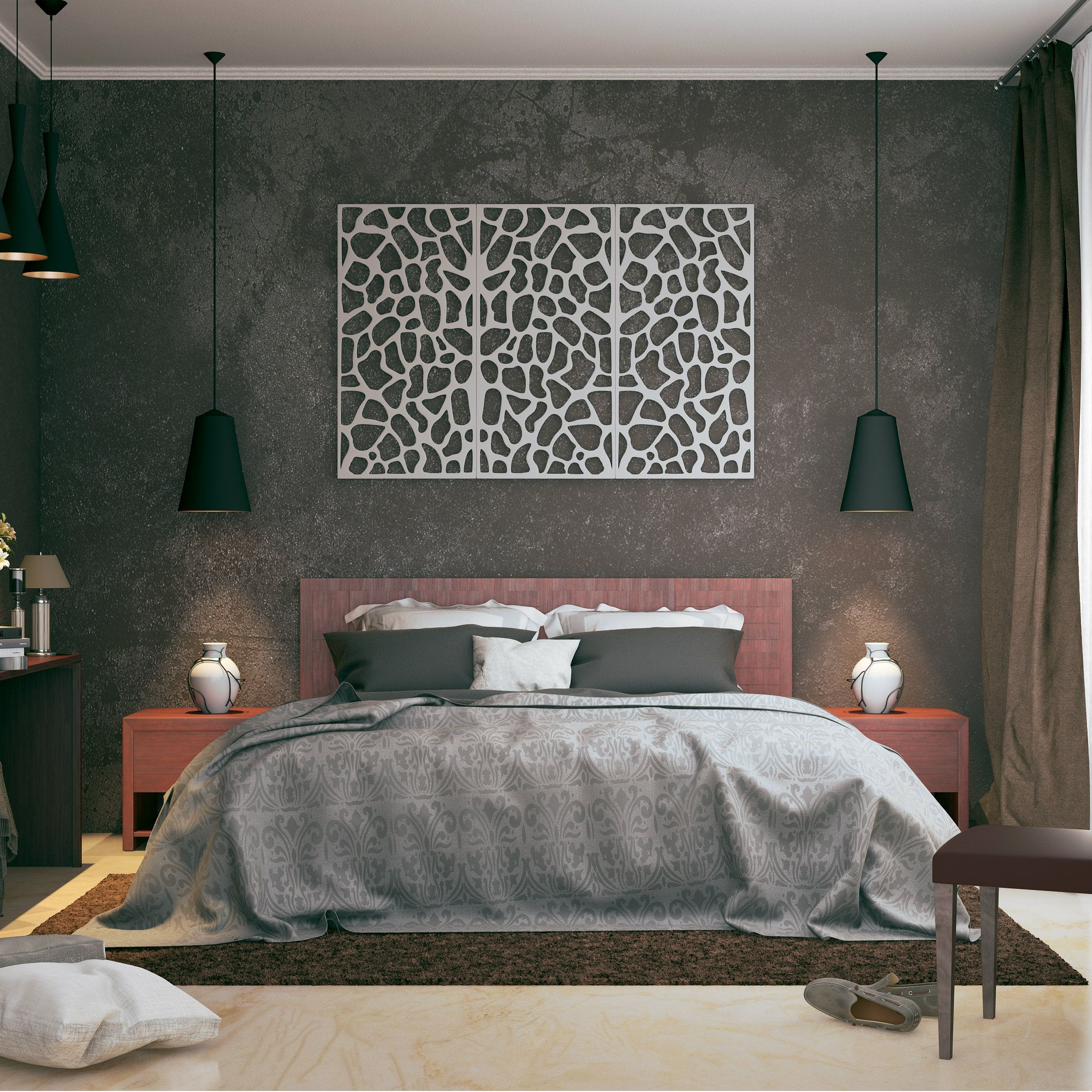 Design An Elegant Bedroom In 5 Easy Steps: Modern Bedroom Design + Rugged Look + Elegant Jali Design